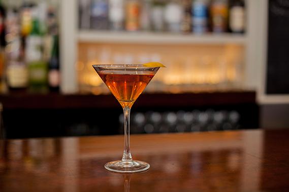 Sipsmith Gin, Dolin Rouge, Noilly Pratt Dry Vermouth, Luxardo Maraschino Liquor, Angostura Bitters, Regan's Orange Bitters with a Lemon Twist