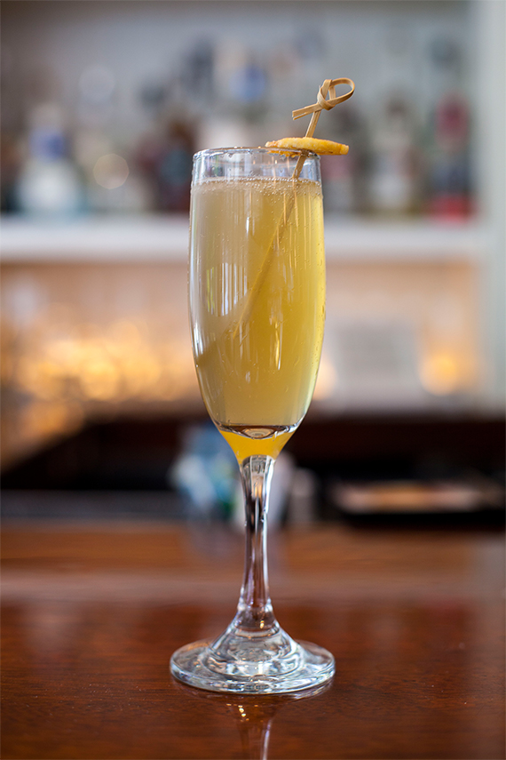 Rum, Vanilla Honey, Lime, Prosecco with a Banana Chip