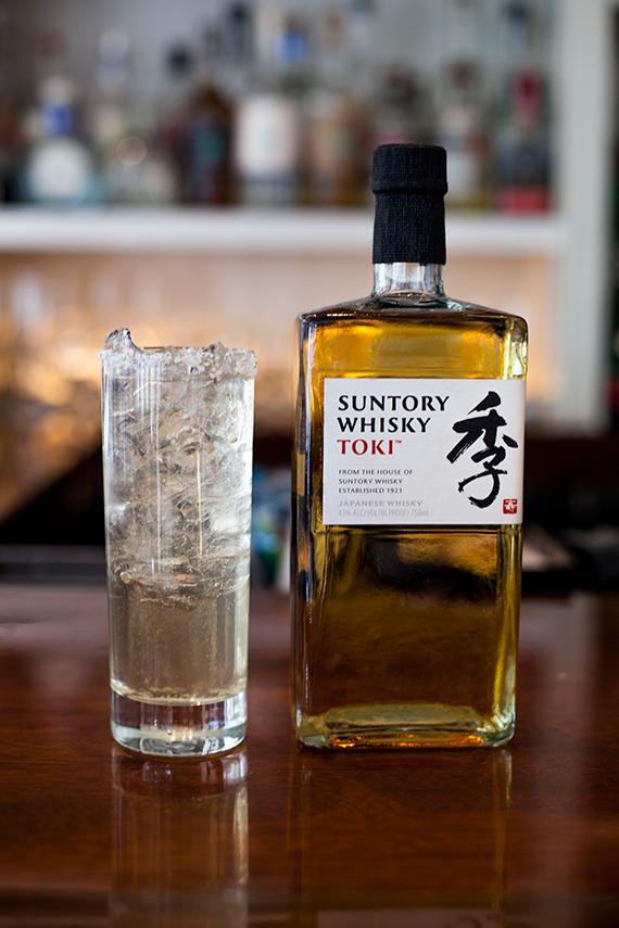 Toki Whiskey, Sencha-Kombu Syrup, Club Soda, Ice with a Dehydrated Lime Zest and Salt Rim