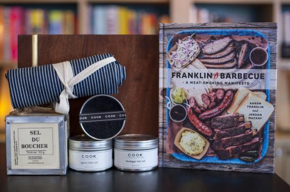 Butcher Salt, Pink, Black and Flake Salt, Apron Jezabel Bronce Cutting Board, Franklin Barbecue: A Meat Smoking Manifesto by Aaron Franklin and Jordan Mackay